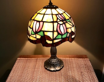 Vintage Tiffa-Mini Desk Lamp   Vintage Stained Glass Lamp   Tiffany Style Accent Lamp   Floral Glass Night Light   Minimalist Lamp  