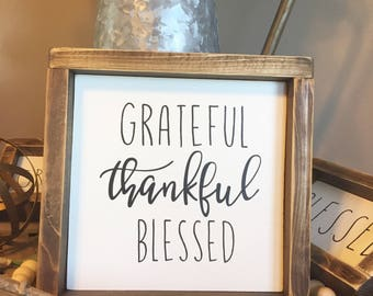 Grateful thankful blessed sign, fall sign, fall decor, autumn sign, grateful sign, blessed sign, thankful sign, wood sign