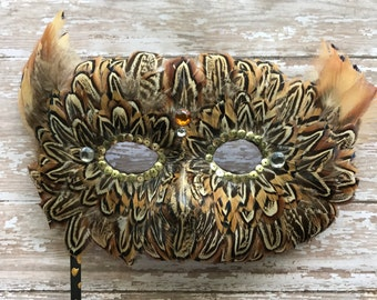 Tiger stripe pheasant feather mask, masquered, ball mask, mardi gras, costume mask, mask, feather mask