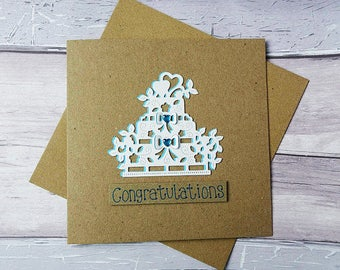 Wedding cake card, Handmade white wedding card, Just Married card, Engagement card, Happy couple card, Congratulations card, Three tier cake
