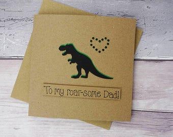Funny dinosaur birthday card, Handmade T-Rex Dinosaur card for Dad, Daddy, Step-Dad or Granddad, Pun card, Daddy-saurus! Father's Day