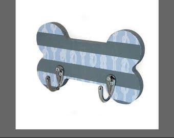 Nautical stripe Bone Plaque Leash/collar storage