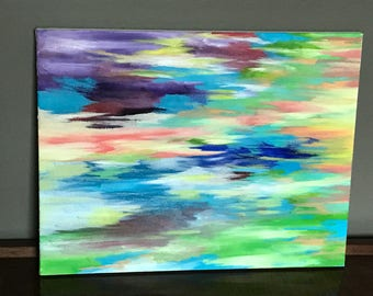 Rainbow-abstract oil painting