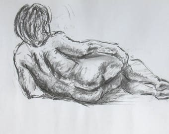 Original woman nude drawing of charcoal and chalk, signed, nude, body drawing in the Studio, 420x296mm