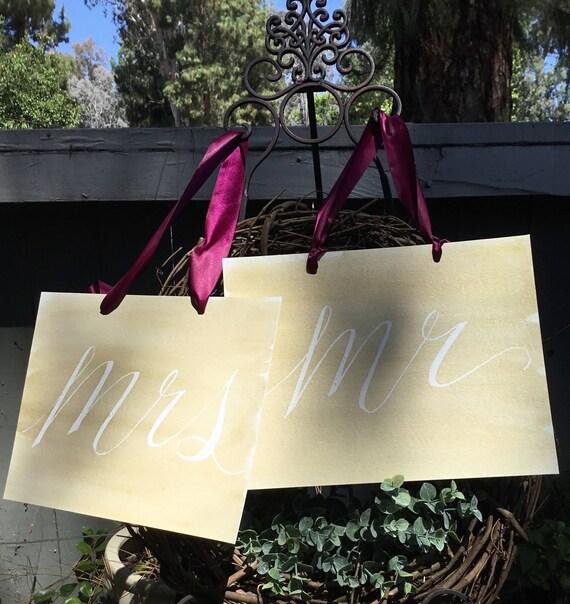 Handpainted Mr & Mrs Signs