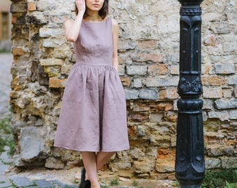 Handmade linen shirtwaist dress with pockets / linen tunic dress / loose dress / shirt waist dress / classic dress