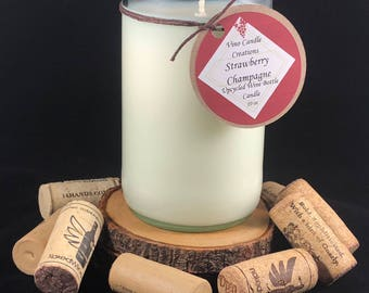 Strawberry Champagne Scented Soy Wax Wine Bottle Candle