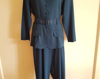 80's - 90's Teal Blue Green Suit with High Waisted Pleated Pants and Belted Jacket Size Medium AU 14