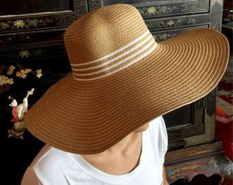 Wide Brim Floppy Straw Hat,Oversize Straw Hat,Beach Straw Hat,Beach Hat,Straw Hat,Sun Hat,Summer Hat,Women Floppy Hat,Round Top Straw Hat