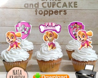 Skye Paw Patrol Cupcake topper - digital file. Pink Paw Patrol Cake Topper. Paw Patrol party supplies. Paw Patrol birthday