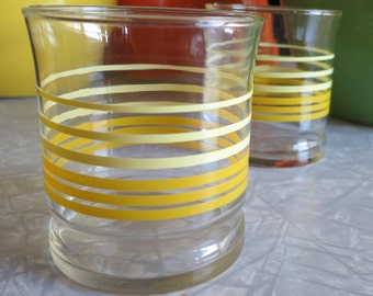 Vintage Juice Glasses! Yellow Striped Pair! 4 inches High and Adorable!