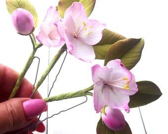 Brautschmuck haare blumen  Kirschblüte haar | Etsy