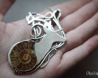 Deer head nickel silver pendant Statement necklace Ammonite Wild animal jewelry Nature inspired Beauty gift for mom wife daughter sister