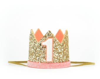 First Birthday Crown | Coral Gold | Glitter Crown | Birthday Girl Outfit