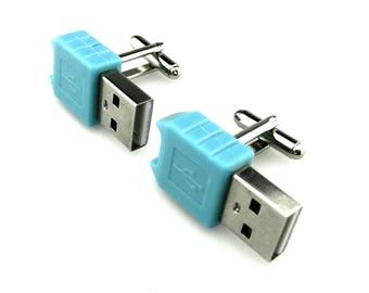 USB Cable Cufflinks - Computer Cufflinks - Cyberpunk Cufflinks - Geek Cufflinks - Nerd Chic Cufflinks - Techie Cufflinks - Gadget Cufflinks