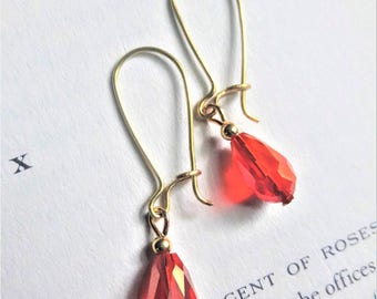 Red Faceted Crystal Gold Tone Handcrafted Drop Earrings
