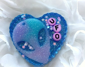 UFO Alien Resin Heart Brooch