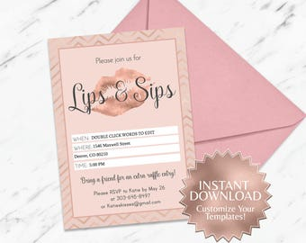 Rose Gold|Blush|LipSense Party Invitation|Lips and Sips Party Invitation|Makeup Party|LipSense|SeneGence|Distributor|Mary|Kay|Lips Party