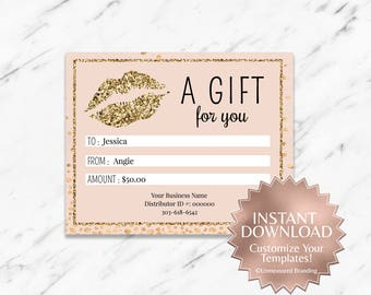 Gold Glitter and Blush LipSense Gift Certificate
