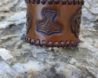 Viking style leather bracelet
