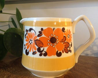 Vintage retro Sadler orange flower milk jug