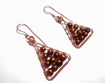 Natural copper and Brown river pearls technical Wire earrings