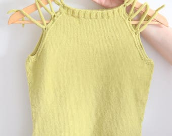 Knit tank top. Merino summer top. Hand knitted design camisole. Lime colour. Size S. Pre-made.