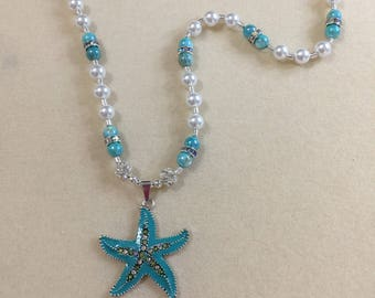 Enamel/crystal starfish necklace