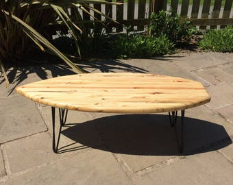 Surfboard Coffee Table handmade from reclaimed pallets