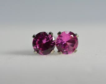 Pink Sapphire earrings stud,sterling silver, 6mm round, Pink earrings, Sapphire earrings, September birthstone, Sapphire