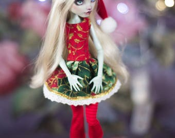 Holidays outfit for monster high doll  MH 27 cm  1/6