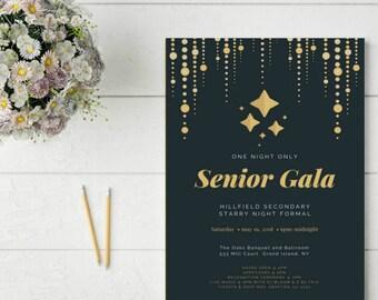 Prom Invitation Starry Night Gala Grad Party Evite Printable Graduation Invitations Custom Invites Formal Invitation Template Bogo Free