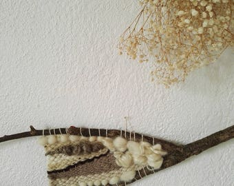 Woven wall hanging - weaving industry - woven wall hanging natural wood - woven wall hanging - wall decor - neutral wood Nature