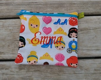 Reusable Sandwich Bag, Princess, Carriage, School Lunch, Snack Bag, Eco-Friendly, Monogrammed Lunch, washable bag, Zippered sandwich bag