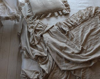 Flax ivory threads Linen Bed scarf 10'' ruffles - 14 colors-summer blanket-linen bedspread-linen bed cover-Available sizes