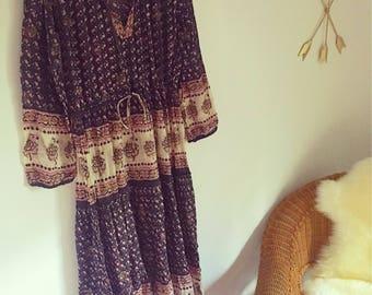 Vintage Indian Gauze Dress Hippie Festival Boho Gypsy Style