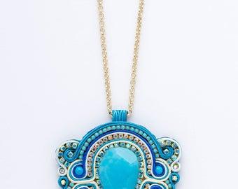 Soutache necklace. Soutache jewelry. Bohemian necklace. Boho necklace. Handmade jewelry. Necklaces. Statement necklaces. The BLUE BUTTERFLY