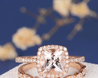 Morganite Engagement Ring Set Rose Gold Cushion Cut Halo Diamond Art Deco Wedding Band Women Eternity Antique Unique Bridal Set Pave 2pcs