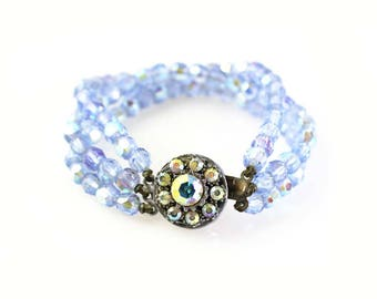 Blue Crystal Triple Strand Bracelet - Pale Blue AB Crystal Fancy Clasp Bracelet - Vintage Aurora Borealis Crystal Bracelet 44