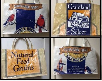 Bird Seed Bag Tote, Market Bag, Reusable Grocery Bag Tote, Up-cycled Feed Bag, Recycled Feed Sack