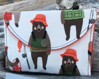 Fishing Bears change wallet, women's wallet, bifold wallet, cotton wallet, handmade wallet