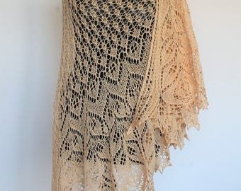 Crescent shaped shawl. Knitted lace shawl. Beaded Shawl. Sandy peach shawl.