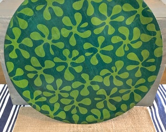 Vintage 70's Groovy Serving Tray- Bamboo with Green on Green Leaf like pattern