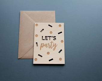 Let's Party Wooden Postcard - Lets Party Card, Best Friend Card, Wood Cut Card, Friend Card for Her, Laser Cut Wood Card, Wood Postcard