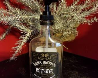 Ezra Brooks Bourbon Whiskey Liquor Bottle Soap Dispenser Recycled Liquor Bottle- Man Cave - Bar decor - Bathroom Decor