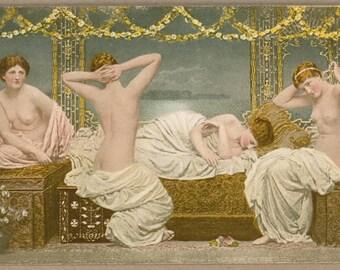 Victorian Nudes on a Summer Evening | Golden Wreaths | Moonlit Sea | Erotic | English Painter Albert Joseph Moore | Antique Postcard |
