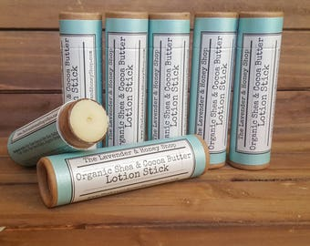 Organic All Natural Shea Butter & Cocoa Butter Lotion Stick with Coconut Oil and Beeswax 1.5 oz Biodegradable Tube