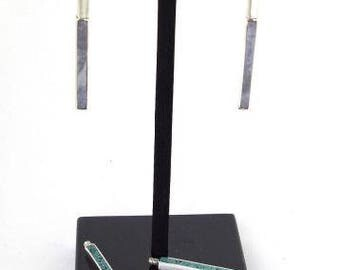 RHEA-earrings geometric and adjustable 925 sterling silver and gemstones removable 2 in 1 - box