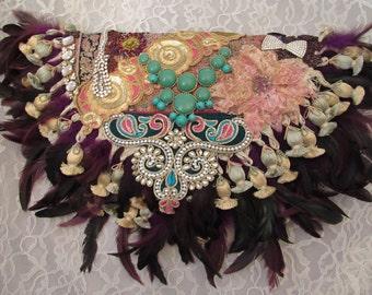 Shabby Chick Handbag, Baroque inspired Clutch, Romantic Boho Purse, Bohemian Clutch, Victorian Glamour Purse