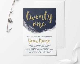 Gold Printable Birthday Invitation, Custom Printable Invitation, 30th Birthday, 21st Birthday, 18th Birthday, DIY Birthday Invitation, Navy